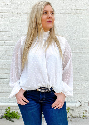 Punchy's White Dotted High Neck Blouse