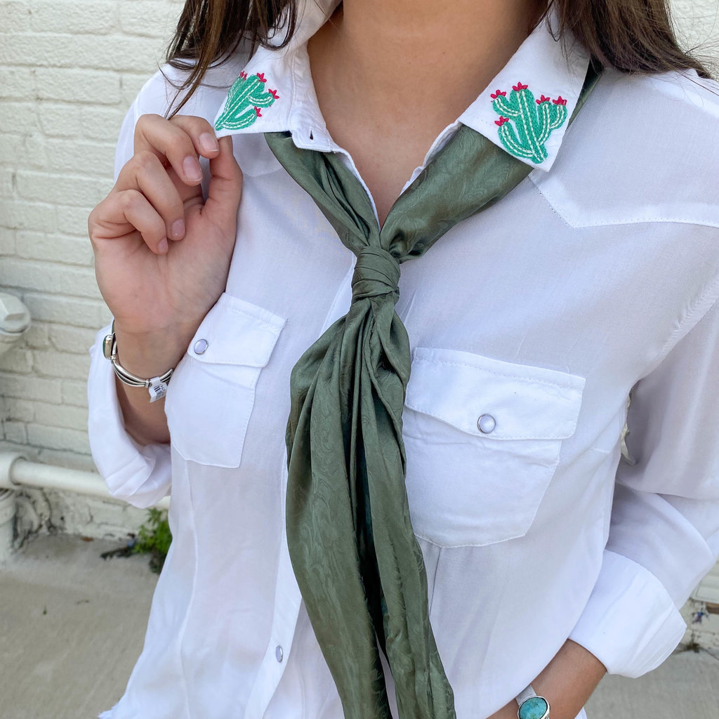 Punchy's White Pearl Snap Button Up with Cactus Embroidery
