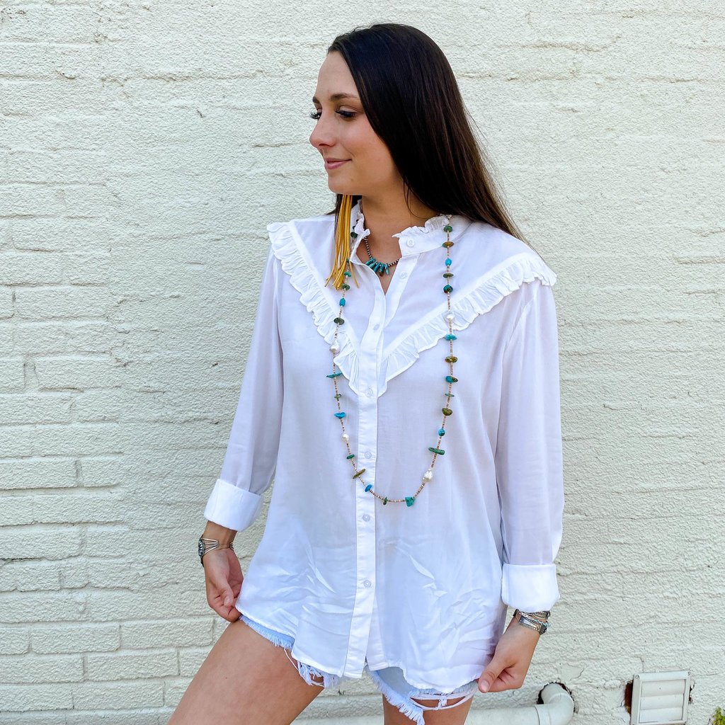 Punchy's White Ruffle Button Up