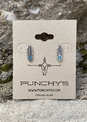 Punchy's Small Feather Studs with Turquoise