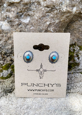Punchy's Small Oval Flower Stud with Turquoise