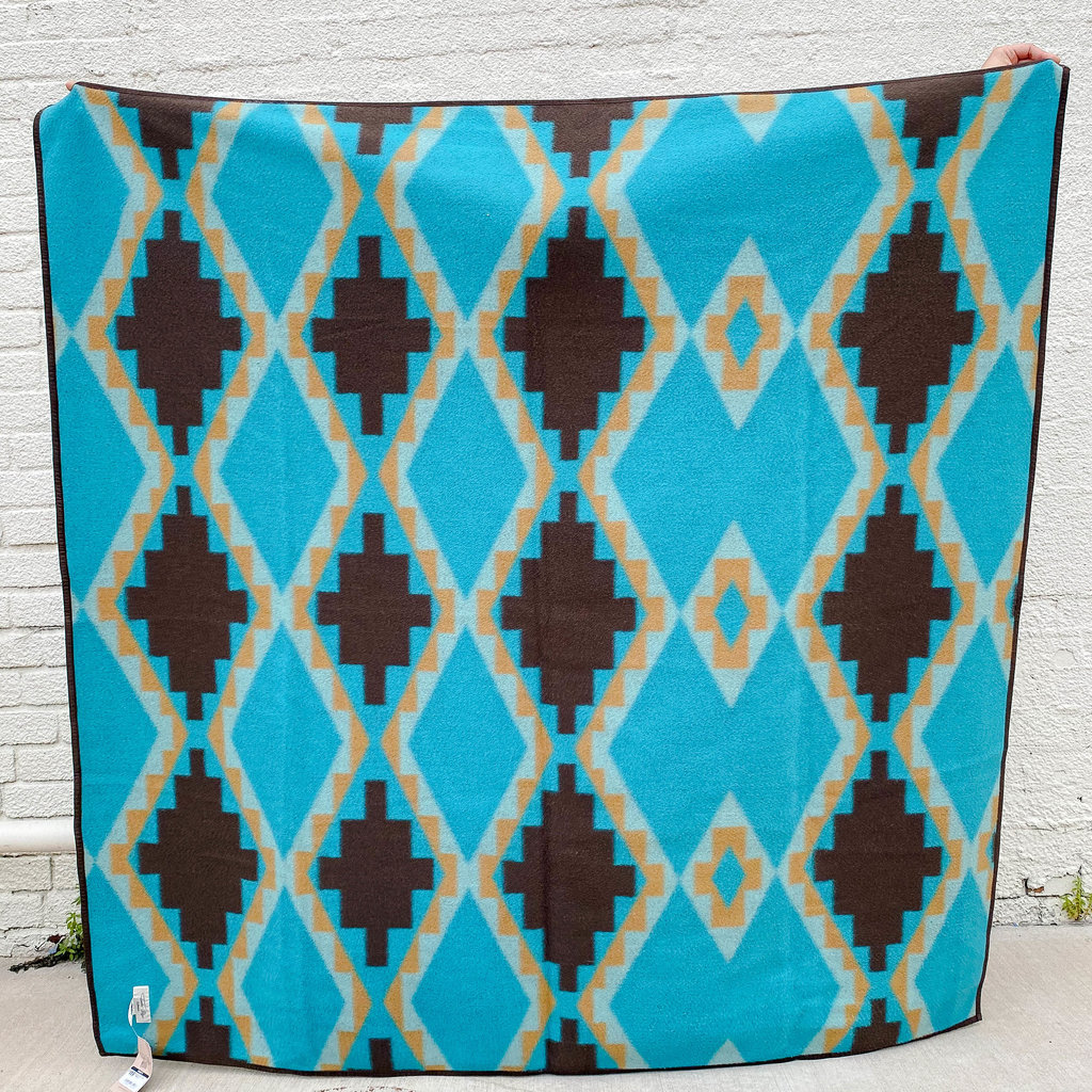 Punchy's Aqua Aztec Throw Blanket