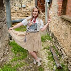 Punchy's Tinsel Gold Midi Skirt