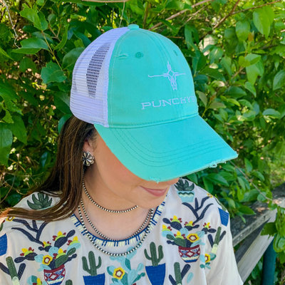 Punchy's Turquoise Distressed Punchy's Logo Hat