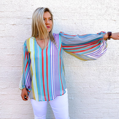 Punchy's Mint and Coral Striped Bishop Sleeve Blouse