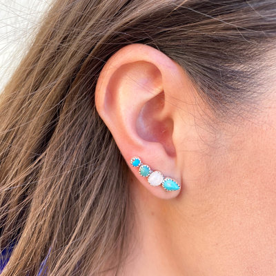 Punchy's Small Turquoise and Moonstone Ear Climber Pair