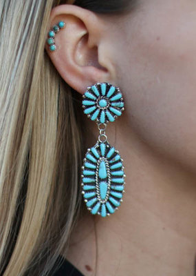 Punchy's Turquoise Flower Post Dangle Earrings