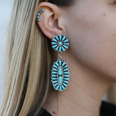 Punchy's Turquoise Flower Post Dangle Earrings