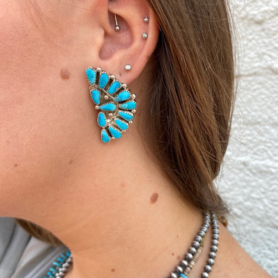 Punchy's Turquoise 12 Stone Crescent Earrings