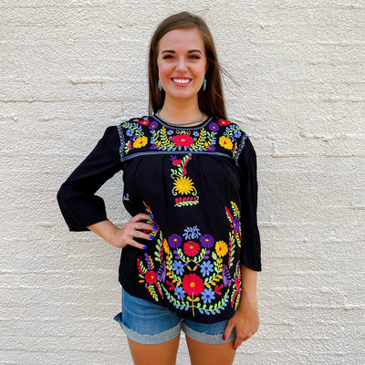 Punchy's Black Embroidered Three Quarter Sleeve Top