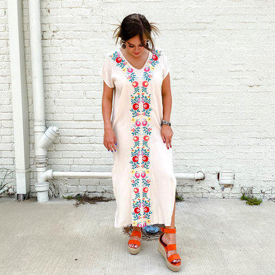 Punchy's Fiesta Embroidered Maxi Dress with Pockets