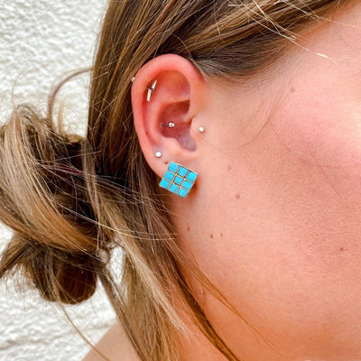Punchy's Diamond Turquoise Studs