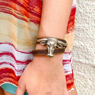Punchy's Longhorn Leather Wrap Bracelet