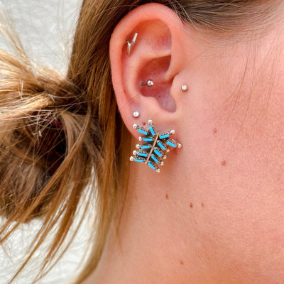 Punchy's Rain Dance Needlepoint Turquoise Studs