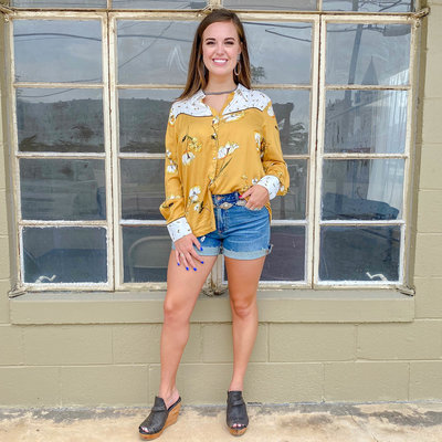 Punchy's Mustard and Floral Vintage Button Up