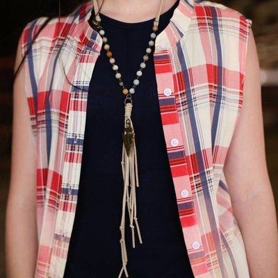 Punchy's Bead and Tan Leather Necklace with Gold Arrowhead
