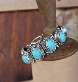 Punchy's 6 Oval Turq Concho Bracelet with Toggle