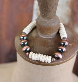 Punchy's Worn Copper and Ivory Stretch Bracelet