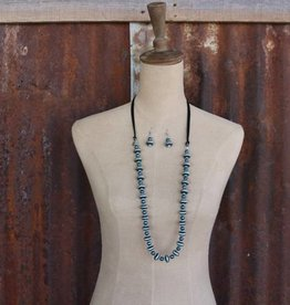 Punchy's Silver and TQ Bead with Black Leather Accent Necklace Set