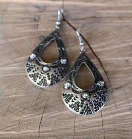 Punchy's Silver Tribal Teardrop with Spikes Earring