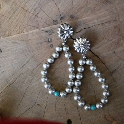 Punchy's Worn Silver Teardrop Earrings with Turq Accent