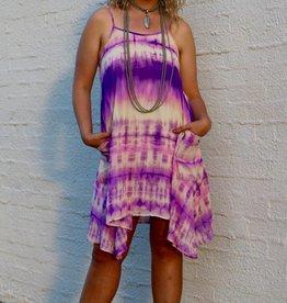 Punchy's Purple Tie Dye Flowy Dress with Pockets