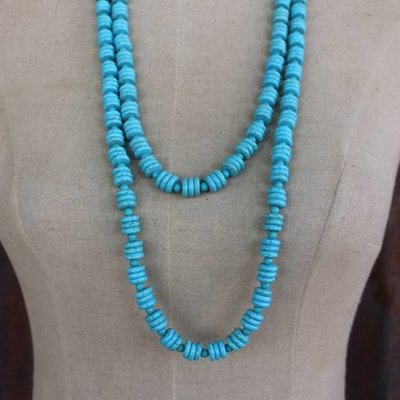 Punchy's 2 Strand Turq Disk Bead Necklace