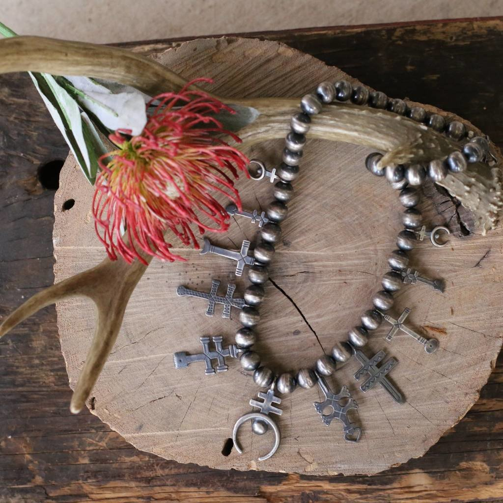 Punchy's Navajo Pearls with Sterling Silver Cross Accents