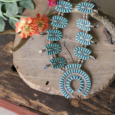 Punchy's Zuni Turquoise Squash Blossom