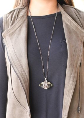 Punchy's Crystal Quartz Sterling Silver Floral Pendant
