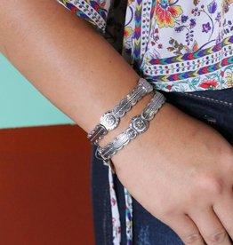 Punchy's Silver Aztec Thunderbird Stretch Bracelet