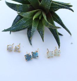 Gemstone Gold Prong Stud Earring