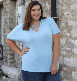Punchy's Distressed Criss Cross V-Neck Tee
