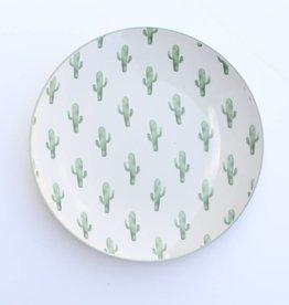 """Punchy's 8"""" Round Ceramic Jade Plate w/Cactus"""