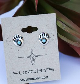Punchy's Bear Paw with Turquoise Stud Earring