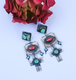 Punchy's Turquoise Spiny Oyster Cross Dangle Earring