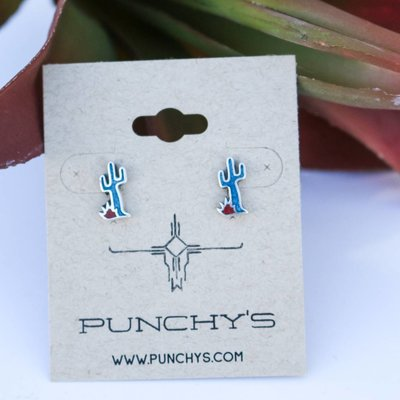 Punchy's Small Saguaro Cactus Stud with Turquoise and Coral