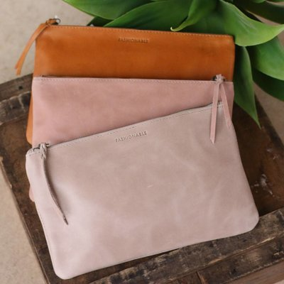 Punchy's Medium Leather Zippered Clutch