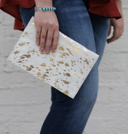 Punchy's Acid Wash Cowhide Foldover Clutch