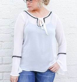 Punchy's Sheer White Bell Sleeve Top