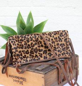 Punchy's Leopard Envelope Satchel Purse