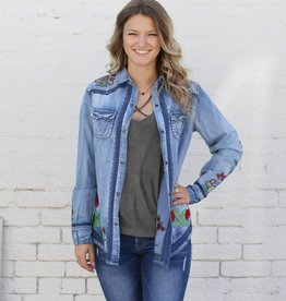 Punchy's Denim Embroidered Cactus Shirt