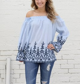 Punchy's Embroidered Stripe Off the Shoulder Top