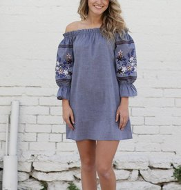 Punchy's Tencel Off The Shoulder Dress with Embroidered Sleeve