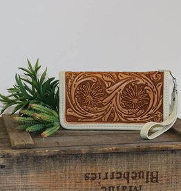 Punchy's Natural Daisy Tooled Leather Zipper Wallet
