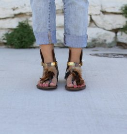 Punchy's Brown Leather Boho Sandal with Feathers