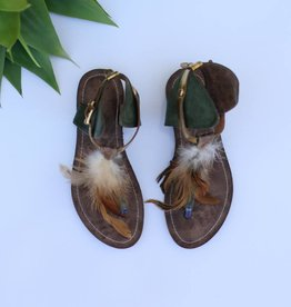 Punchy's Green Leather Boho Sandal with Feathers