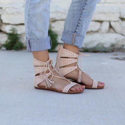 Punchy's Light Pink Suede Gladiator Sandal
