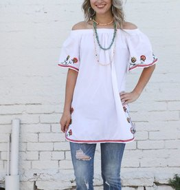 Punchy's Embroidered Off the Shoulder Tunic Blouse