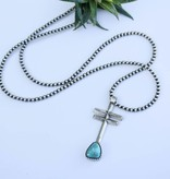 Punchy's Single Strand Navajo Pearls with Double Cross Pendant